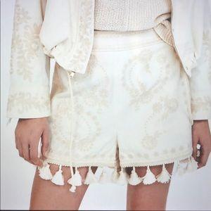 Zara Ecru Tassel Shorts